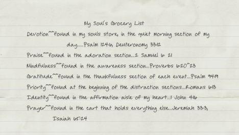 My Souls Grocery List