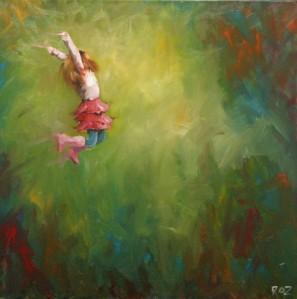 little girl leaping