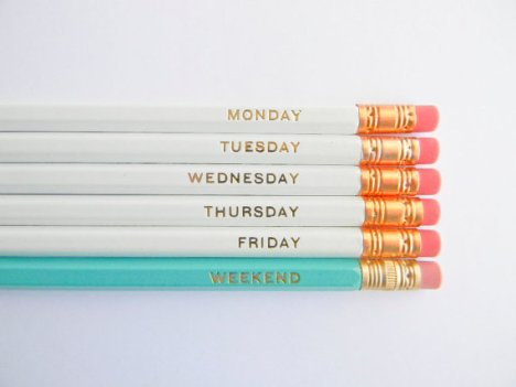http://www.etsy.com/listing/124595305/hello-weekend-pencils-white-aqua-gold